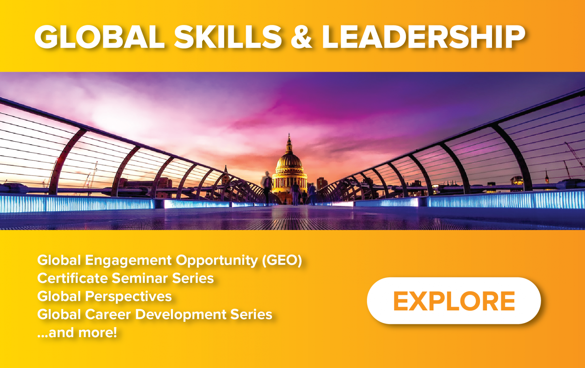 Homepage Teaser Image - Global Skills and Leadership Portal - Global Engagement Opportunity; Certificate Seminar Series; Global Perspectives; Global Career Development Series; and more